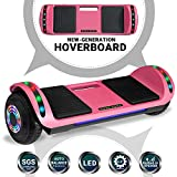 Beston Sports Newest Generation Electric Hoverboard Dual Motors Two Wheels Hoover Board Smart self Balancing Scooter with Built in Speaker LED Lights for Adults Kids Gift (Pink)