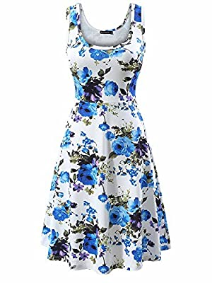 """Our brand """"FENSACE"""" has registered US Trademark, great sense of touch, stretch, breathable, soft and comfortable Features:Midi dress, waistline, sleeveless, round neck, flare skirt bottom, perfect for Spring,Summer and Autumn Situation: daily wear, t..."""