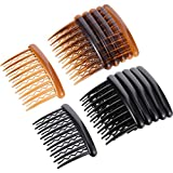 Gejoy 12 Pieces Plastic Teeth Hair Combs Tortoise Side Comb Hair Accessories for Fine Hair (Black and Brown)
