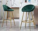 CIMOO Velvet Bar Stools Set of 2, Modern Tufted Kitchen Bar Height Stools with Back Footrest 30 inch Stool Chairs for Home Bar, Dining Room, Dark Green