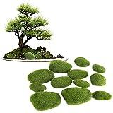 Dewin Musgo Artificial - Zen Bonsai Bonsais Artificiales Decoracin con Forma de Piedra de Musgo para Restaurante Hotel cafetera msala de Estar 12Pcs