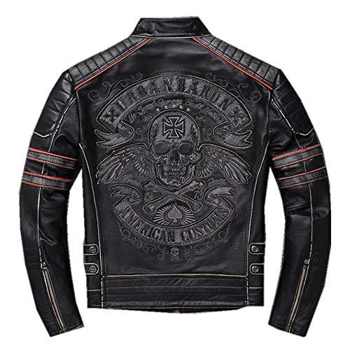 X.N.S(希望)バイク用 レザージャケット防風防寒 秋冬 牛革 メンズ バイクジャケット ライダースジャケットXNS-156 (L, 黒-骸骨ケミカルウォッシュ加工)
