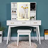Iwell Large Vanity Table Set with 3 Colors Lighted Mirror, 39.4' L Makeup Vanity Table with 5 Storage Shelves, Dressing Table with 3 Drawers & Cushioned Stool, Gift for Women, Girl White