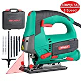 Jigsaw, 6.7A 800W HYCHIKA Jig Saw 800-3000SPM with 6 Variable Speeds, 4 Orbital Sets, Bevel Angle 45°, 6PCS Blades Carrying Case Wood Metal Plastic Cutting, 10 Feet Cord