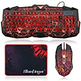 BlueFinger Gaming Keyboard and Mouse Combo,Gaming Mouse and Keyboard, USB Wired Keyboard Mouse Game Set,114 Keys Backlit,3 Color LED Crack Illumination Keyboard Mouse for Game and Work