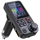 Nulaxy Car Bluetooth Transmitter, Strong Microphone Bluetooth Car Radio Adapter with 1.8' Color Screen for Hands Free Calls, Supports QC3.0 Charging, Treble and Bass Sound Music Player- KM30