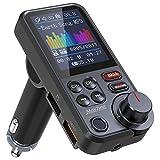 Nulaxy Trasmettitore Bluetooth per auto, adattatore per autoradio Bluetooth con schermo a colori da 1,8'con microfono potente per chiamate a mani libere migliori, supporta la ricarica QC3.0, KM30