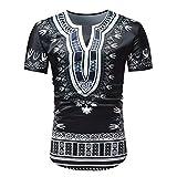 OHQ Camiseta Hombre Casual Verano Manga Corta con Cuello Redondo Y Estampado De Estilo Africano...