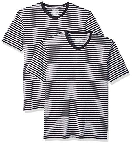 Amazon Essentials - Camisetas de manga corta y corte entallado con cuello en V y diseño a rayas para hombre, Negro/Gris jaspeado claro, US XS (EU XS)
