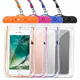 F-color Waterproof Case, 4 Pack Floating Clear Waterproof Phone Pouch TPU Dry Case Compatible iPhone X 8 7 7 Plus Home Button for iPhone, Google Pixel, Samsung, HTC, LG, Blue Black Orange Pink