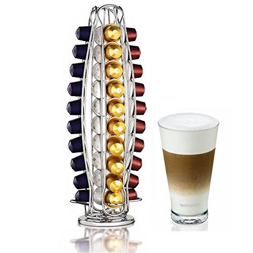 Contenitore porta capsule Nespresso, di alta qualità, con base girevole, contiene fino a 40capsule