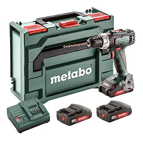 metabo 602321540 BS 18 L-Trapano Avvitatore a Batteria, 3 x 2,0 Ah, 18 V, Akku Set, 200 W, Grn Grau Schwarz Rot