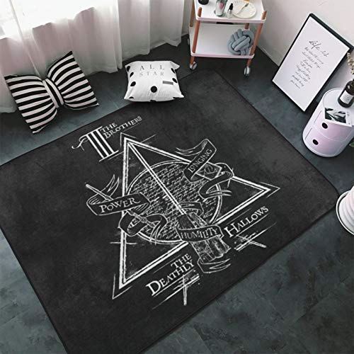 Ha-Rry Pot-TER Spell Deathly Hal-Lows Gra-Phic Area Rugs Non-Slip Floor Carpet Rug Super Soft Pad Rug Washable Yoga Mat for Bedroom Living Room Kids Room Playroom Nursery Room 60 x 39 inch