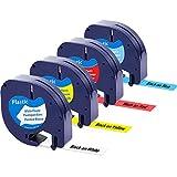 Aken - Cinta de Etiquetas compatible para usar en lugar de Dymo Letratag Colores Plastico Cinta 12mm x 4m, Recambios para LT-100h LT1-00T LT1-10T XR, Negro sobre Blanco Rojo Amarillo Azul
