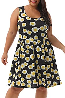 The drop down size is US Plus Size Soft Print Pattern,Sleeveless T Shirt Dress with 2 side pockets Casual Style,Round Neckline,Loose Fit,Stretchy Swing Tank Dress Recommended With Cold Water / Do Not Bleach / Hang Or Line Dry. Occasion:Casual,Daily,W...