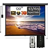 120' Motorized Projector Screen - Indoor and Outdoor Movies Screen 120 inch Electric 4:3 Projector Screen W/Remote Control (American Business) 3D 1080P 4K Ready by Delux Screens Roll Down Automatic