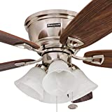 """Honeywell 50182 Quick-2-Hang Hugger Ceiling Fan, 52"""" Dimmable LED White Swirled Marble Fixtures, Easy Installation Cimmeron/Walnut Blades, Brushed Nickel"""