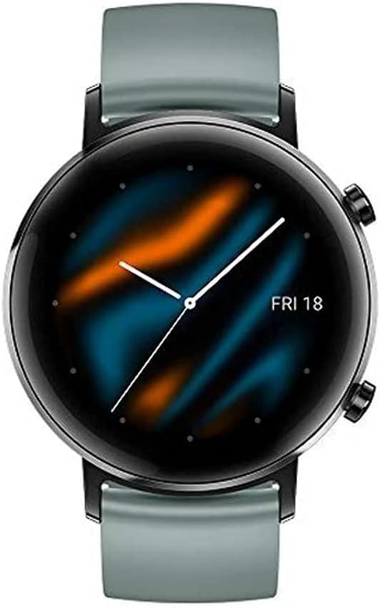 HUAWEI Watch GT 2 (42 mm) Smart Watch, 1.2 Inch AMOLED Display, 1 Week Battery Life, GPS, 3D Glass Screen, Real-time Heart Rate Monitoring, International Model, No Warranty- Lake Cyan