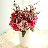 LACKINGONE Fleurs Artificielles Haute Simulation Soie Rose Faux Bouquet avec Tiges, Faux Hortensia Gerbera Daisy Arrangements Réalistes, Violet Rose Rose Faux Bouquet
