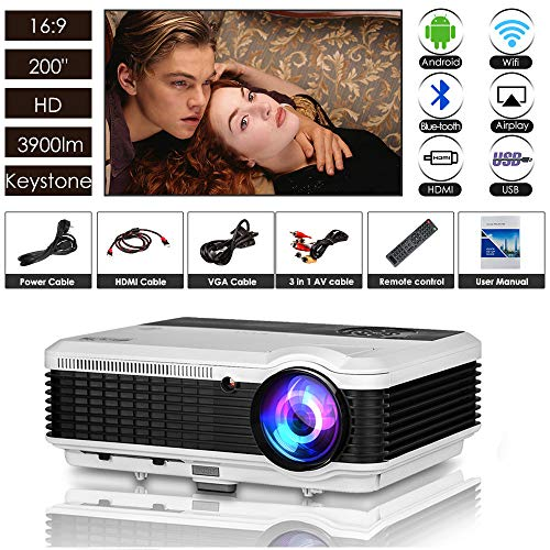 """EUG 3900 Lumens Bluetooth Wireless Projector LED LCD WXGA HD Airplay Wifi Video Projector 200"""" Home Theater Outdoor 1080p Movie Gaming HDMI USB VGA AV for Android IOS Smartphone Tablet PC Laptop DVD"""
