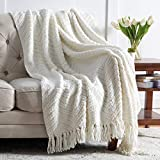 Bedsure Cream White Throw Blanket for Couch, Knit Woven Chenille Blanket Versatile for Chair, 50 x 60 Inch - Super Soft Warm Decorative Ivory Blanket with Tassels for Bed, Sofa and Living Room