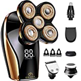 Bald Head Shavers for Men-OriHea Electric Razor for Men with LED Display, Faster-Charging 5D Floating Waterproof Electric Shaver for Men with Hair Clippers,Nose Hair Trimmer Rose Gold