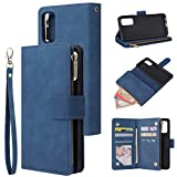 UEEBAI Wallet Case for Samsung Galaxy S20 Ultra, Premium Vintage PU Leather Magnetic Closure Handbag Zipper Pocket Case Kickstand Card Holder Slots with Wrist Strap TPU Shockproof Flip Cover - Blue