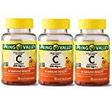 SPRING VALLEY Adult Gummy Vitamin C,250MG, Pack of 3, 70 Gummies Each