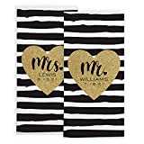 Let's Make Memories Personalized Just Married Beach Towel - for Newlyweds - Add Last Name & Date - Set of 2 - Mr. & Mrs.