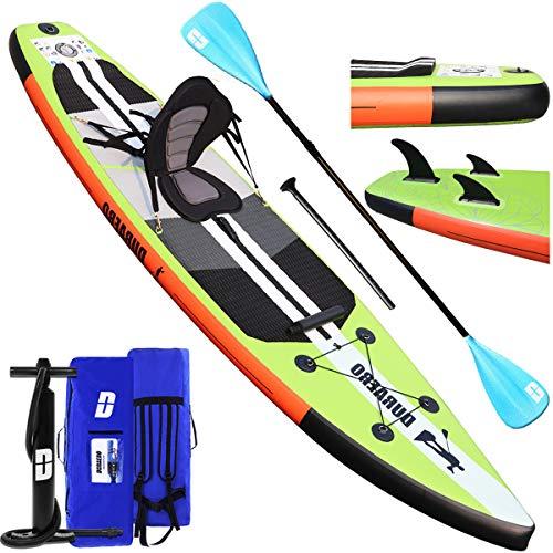 Tavola da SUP Stand Up Paddle Board Gonfiabile, Tavola da surf, sedile kayak, 330 x 76 x 15 cm, fino a 130 kg, accessori completi