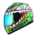 WOW Motorcycle Full Face Helmet Street Bike BMX MX Youth Kids Shark Green; Size M (19.7/20.3 Inch)