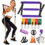 YXILEE Pilates bar Set with Resistance Bands for Women Adjustable Pilates Stick Yoga Strap, Jump Rope, Hip Band, Gym Bag, Workout Guide for Full Body Workouts, Home Fitness kit