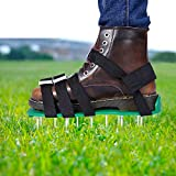Lawn Aerator Shoes - EEIEER Lawn Aerating Shoes Lawn Aerator Sandals Lawn Aerator Scarifier Lawn Scarifier Lawn Aerator Spike Lawn Aeration Shoes with 5 Straps for Your Lawn or Yard