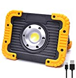 ODISTAR 20W LED Rechargeable Work Light,Portable Cordless Hand Held Shop Light with Stand,3 Modes Flood Emergency Light,Built-in 4400MA Lithium Battery Power Bank,for Construction Site(2019 Newest)