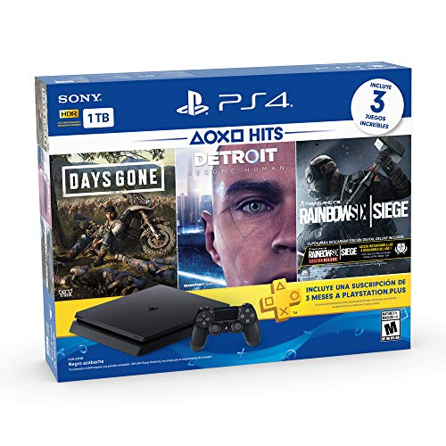 PlayStation 4 Hits 1TB con 3 juegos: Days Gone, Detroit: Become Human, Tom Clancy's Rainbow Six: Siege - Bundle Edition