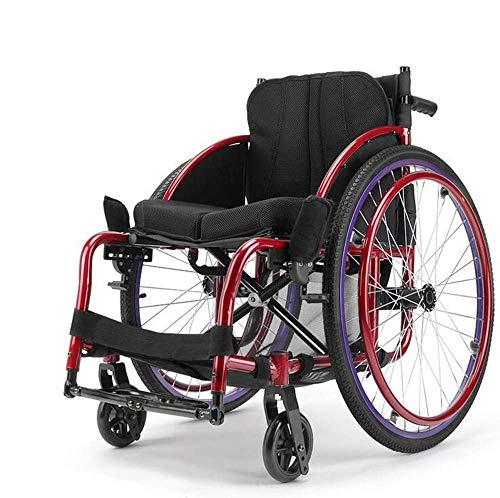 MJK Sillas de ruedas livianas 13Kg Silla de ruedas de transporte plegable portátil Asiento ergonómico Soporte de carga de 100Kg Asiento de 40 * 40Cm Silla de ruedas de tipo deportivo de moda