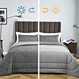 "Bedsure King Size Comforter Set - All-Season Reversible Warm&Cooling Comforter Down Alternative Bed Set - Soft Microfiber Fill Duvet Insert 3 Pieces Set - with 2 Pillow Shams - Grey(102x90"")"