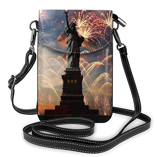 Lightweight Pu Leather Cell Phone Purse,Statue Of Liberty Flag Small Crossbody Bags Shoulder Bag Wallet Pounch Handbag For Women