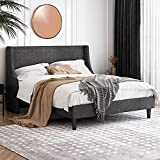 Einfach Queen Size Platform Bed Frame with Wingback Headboard / Fabric Upholstered Mattress Foundation with Wooden Slat Support, Dark Grey