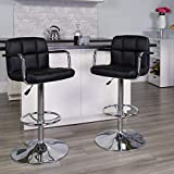 Flash Furniture Contemporary Black Quilted Vinyl Adjustable Height Barstool with Arms and Chrome Base, 1 Pack