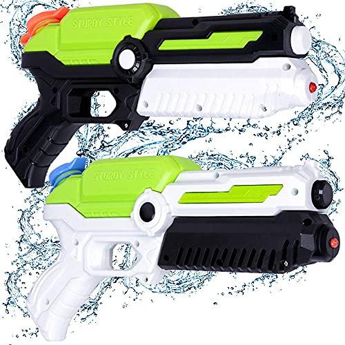 MOZOOSON Juguetes para Niños de 3-8 Años, 2 PCs Pistola de Agua con 400 ml, Super Pistola Power Water Gun con Alcance Largo 6-10 Metros Juguetes Piscina Playa Lanzador de Agua para Niños y Adultos