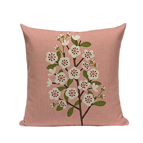 TRASWOYS Throw Pillow Case Funda de Almohada Cojín personalizado Flores Acuarela Pájaro Vintage Fundas de almohada Sofá de alta calidad Fundas de almohada decorativas