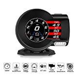 AkinaSpeed HUD F8 OBD2 Head Up Display Voltage Water Temperature Air Fuel Ratio OBDII Boost Gauge Turbine Pressure Speedometer RPM Tachometer Car Scan Tool Fault DTC Clear Speed Alarm Multifunctional