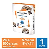 Hammermill Premium Inkjet & Laser Multipurpose Copy Paper, 24lb Copy Paper, 8.5x 11, 1 Ream, 500 Total Sheets, Made in USA, Sustainably Sourced From American Family Tree Farms, 97 Bright, Acid Free, 166140R