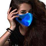 Fine LED Flashing Mask with 7 Color Luminous Light Up Face Mask for Men Women Party Christmas Halloween Costume Mask (Black)