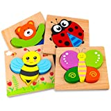 SKYFIELD Wooden Animal Jigsaw Puzzles for Toddlers 1 2 3 Years Old, Boys &Girls Educational Toys Gift with 4 Animals Patterns, Bright Vibrant Color Shapes,Gift Box Packed Ready (Animal)