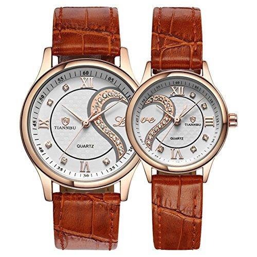 Fq-102 Coppia di orologi da polso in oro romantici in pelle ultrasottili per coppia uomo donna, set...