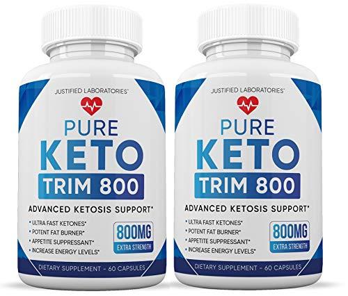 Pure Keto Trim 800 Advanced BHB Ketogenic Supplement Exogenous Ketones Ketosis for Men Women 60 Capsules 2 Bottles 1