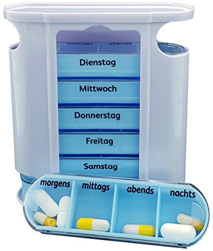 M&H-24 Tablettenbox Medikamentenbox Pillenbox für 7 Tage Blau - Pillen-Tabletten-Dose Medikamentendispenser Medikamentendose Wochendosierer Woche 4-Fächer Morgens Mittags Abends Nachts