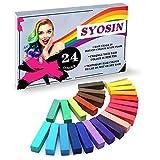 SYOSIN Tiza para el cabello, 24 colores temporales para el cabello, coloraciones para el cabello,...